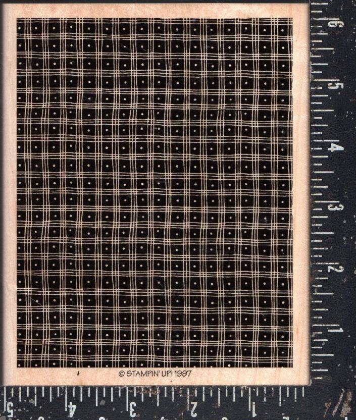 Stampin' UP Wood Mounted Background Rubber Stamp Pindot  Plaid