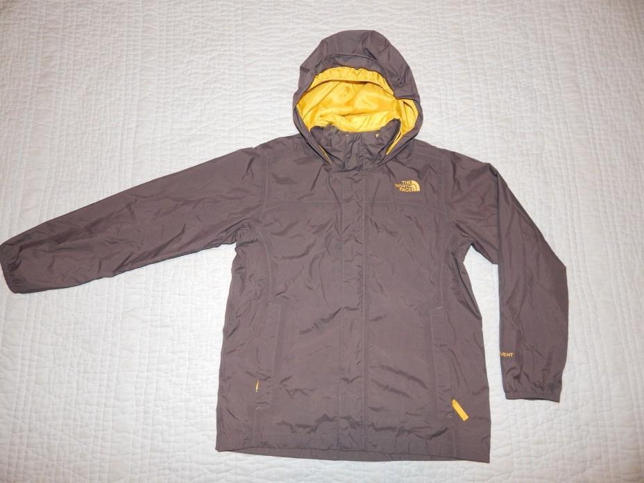THE NORTH FACE HYVENT BROWN KIDS HOODED RAIN JACKET/COAT/BOYS M (10-12)-EUC