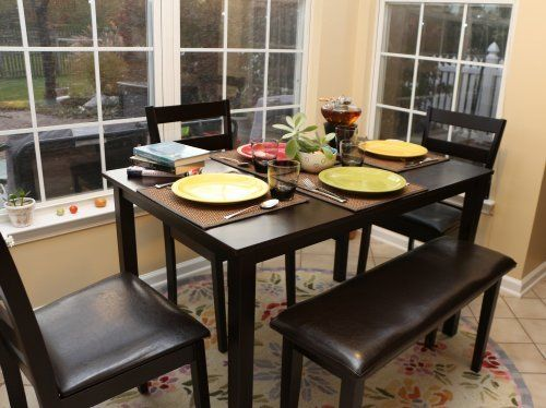 Dinette Table Chairs 5 Pc Bench Set Espresso Finish Dining Kitchen