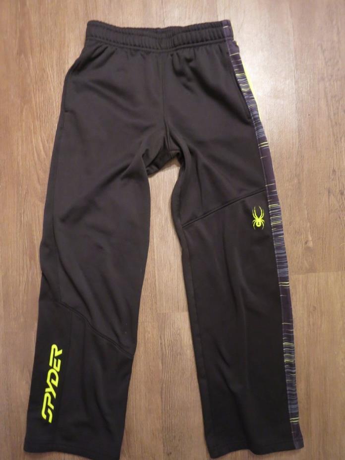 Spyder Boy's Black/Neon Yellow Fleece Lined Sweat Pants, Sz M