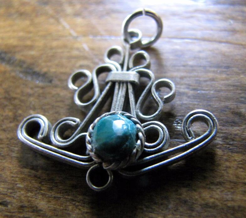 Small Silver Pendant Charm with Malachite Stone 1