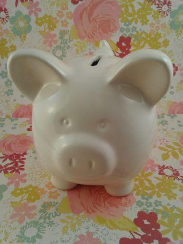 White ceramic piggy bank NEW PERFECT baby shower GIFT. FREE SHIPPING BRAND NEW