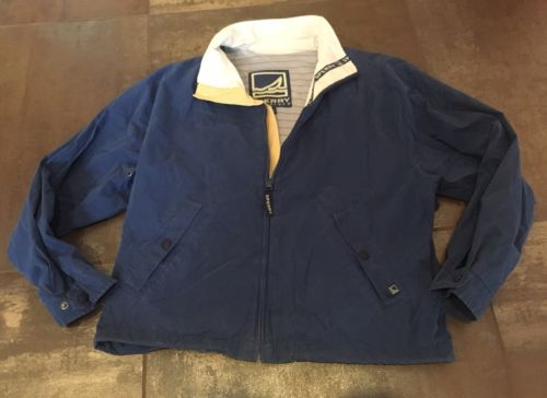 Vintage Sperry Topsider Blue Sailing Boat Nautical Jacket Size XL 52 Chest