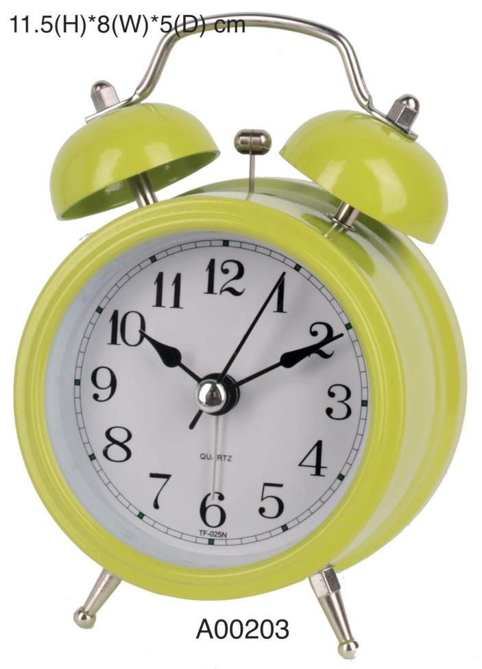 3-inch Classic Pink Metal Silent Dual Bell Ring Design Alarm Desk Table Clock