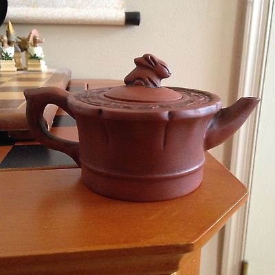 Old Chinese YixingZisha Teapot Rabbit Top Signed ????