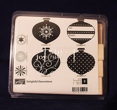 Stampin Up Retired Delightful Decorations Set of 7 Unmounted Ink Rubber Stamps