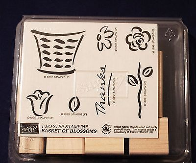 Stampin Up Retired 1999 Basket of Blossoms Set of 7 Unmounted Ink Rubber Stamps