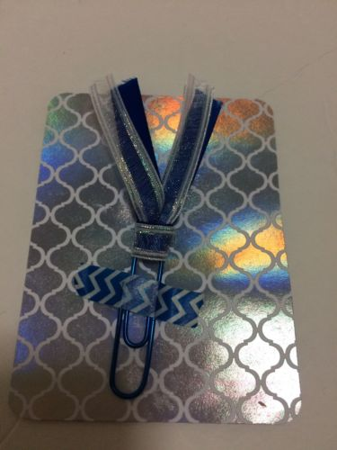 Holographic Iridescent Blue Planner Paper Clip Ribbon Bookmark Handmade