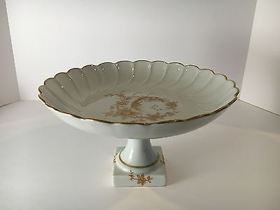 Vintage Chamart France Limoges Cake Cookie Platter Stand. Gold, Bird, Flowers