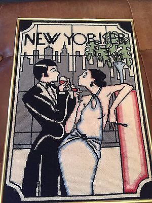 Vintage Needlepoint NEW YORKER  Framed Art New York Skyline Wine Complete