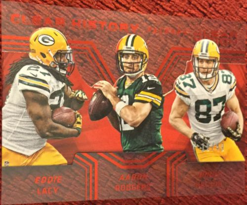Aaron Rodgers Jordy Nelson Eddie Lacy19/49 2016 Panini Clear Vision Red Parallel