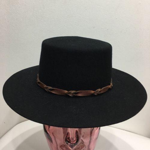 Nwt Nordstrom Brixton Mfg Co. Black Round Leather Fedora Women Hats Sz Xs 54 Cm