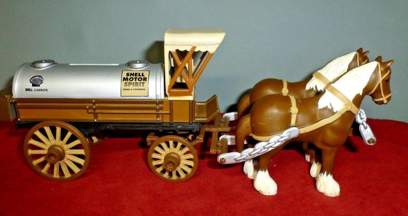 Ertl SHELL GASOLINE Horse-Drawn Tank Wagon LOCKING COIN BANK