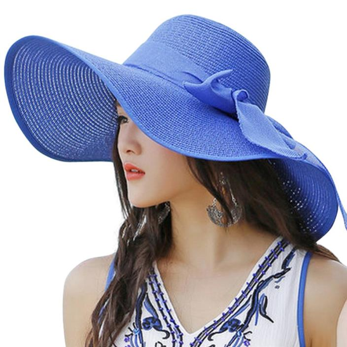 Lanzom Womens Big Bowknot Straw Hat Floppy Foldable Roll up Beach Cap Sun Hat UP