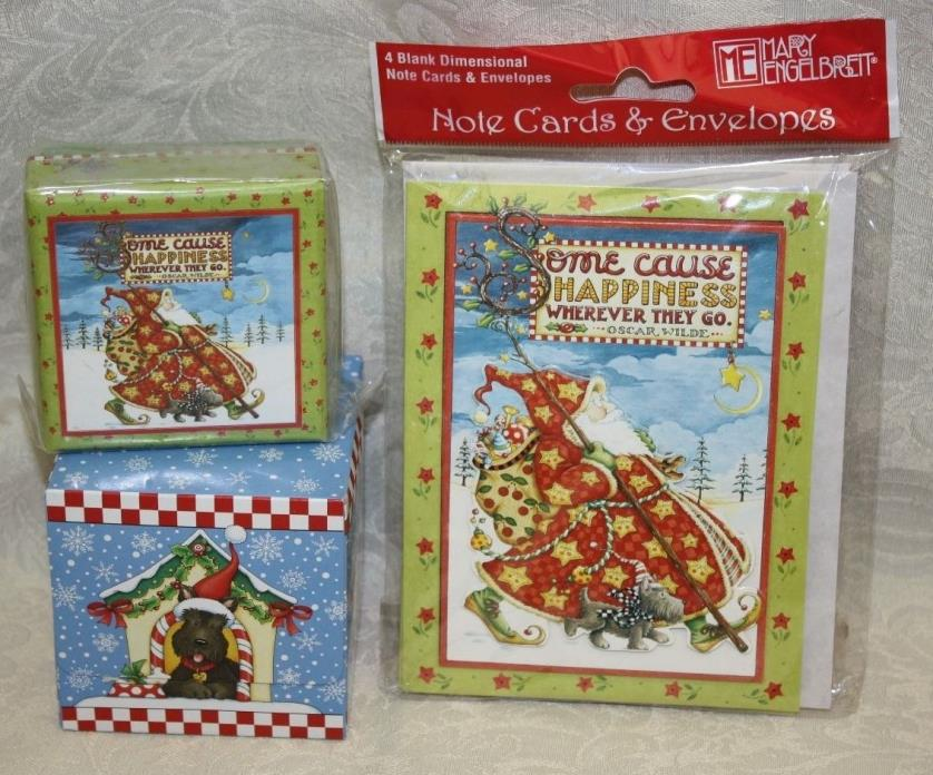 Mary Engelbreit Christmas Scottie Dog LOT/3 Tissues, Note Cards, Mini Box NEW