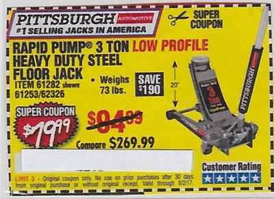 Harbor Freight SAVE $190*** COUPON***for 3 Ton Heavy Duty Steel Floor Jack