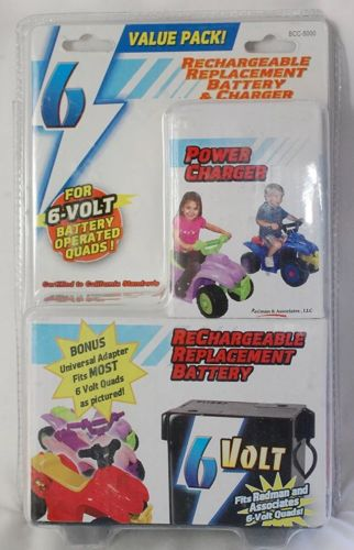 6 Volt Replacement Rechargeable Battery & Charger For Quads Power Wheels