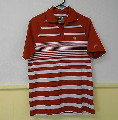 Izod Golf Men's Stripe Polo Shirt Short Sleeve Size Small Orange & White