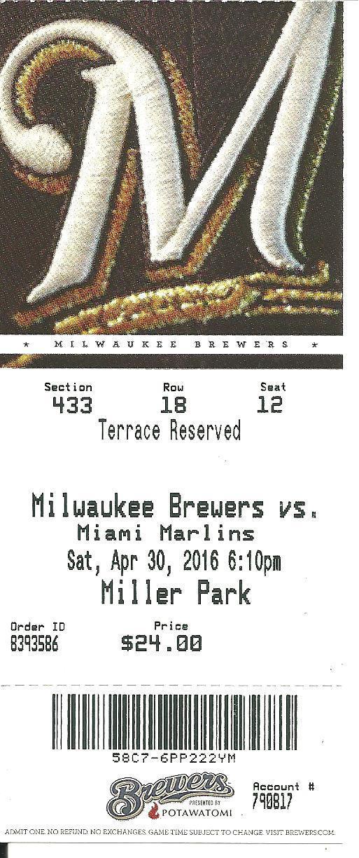 Milwaukee Brewers Miami Marlins 4/30/2016 Ticket Stub Giancarlo Stanton Home Run