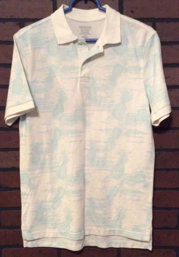 Merona Polo Shirt White Size Small 100% Cotton Short Sleeve Hawaiian Men's T17