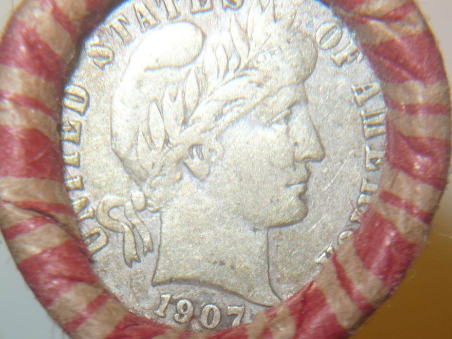 WHEAT PENNY ROLL, 1907 BARBER DIME & A THREE CENT NICKEL ON THE ENDS T-24