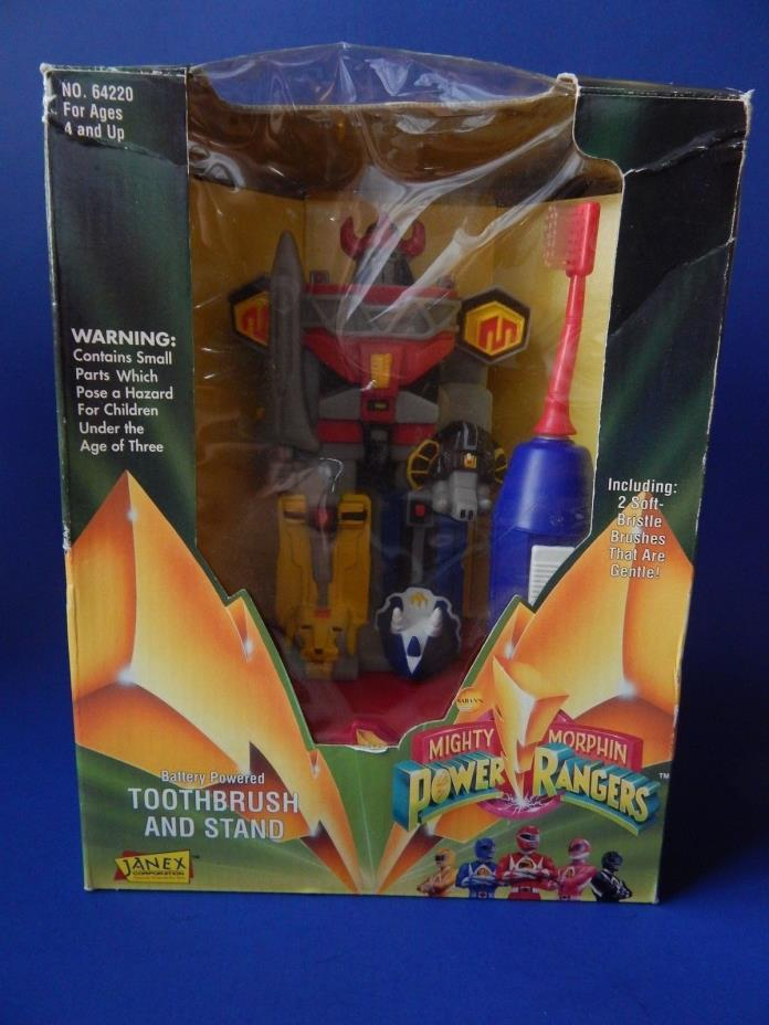 NEW Mighty Morphin Power Rangers Battery Powered Toothbrush & Stand 1994
