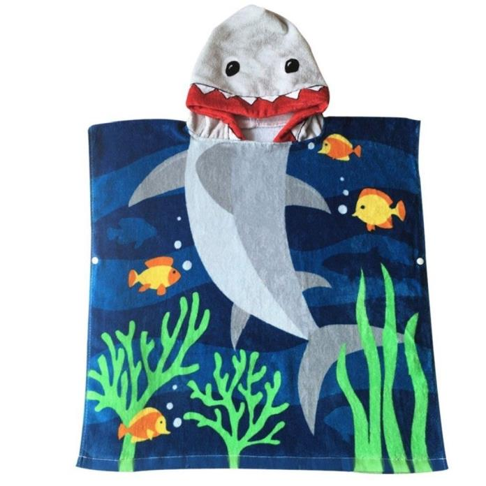 Kids Blanket Hooded Towel Shark Bathrobe Coating Boys Organic Cotton Shower Gift