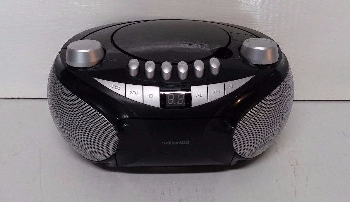 Sylvania Portable Cassette CD AM/FM Radio Boombox With Cassette Player (SRCD286)