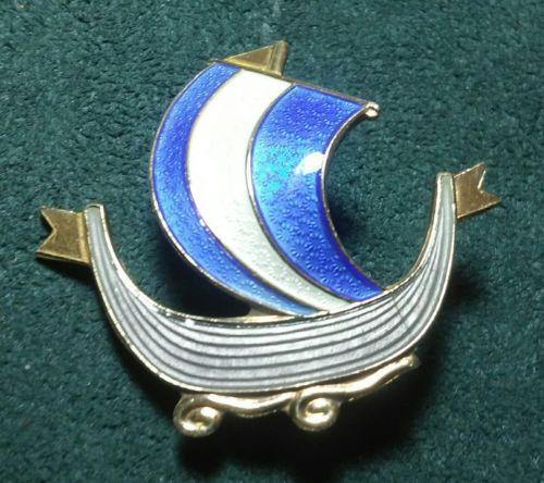 Vintage Norway .925 Sterling Silver enamel Viking Ship PIN gold wash A. Holmsen