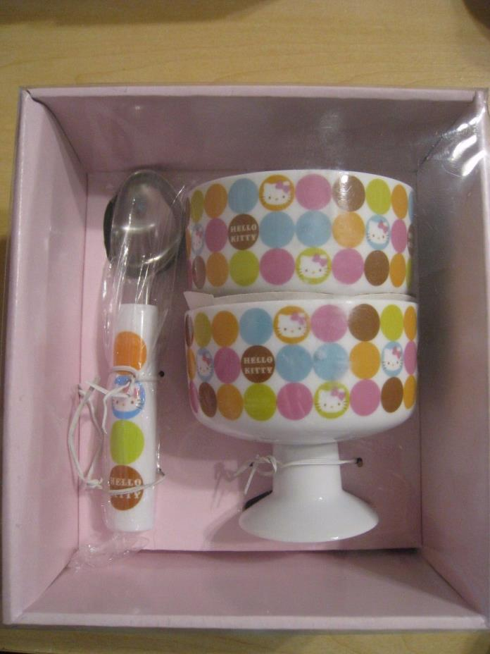 Sanrio Polka Dots Hello Kitty Ice Cream Bowls Set - 2 Bowls 1 Scooper