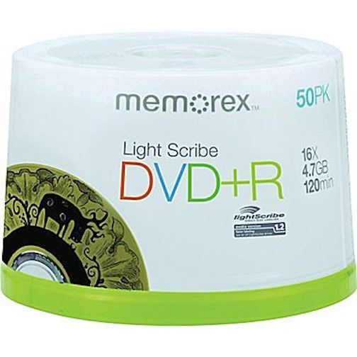 DVD+R Lightscribe 50-Pack Spindle Memorex 4.7GB 4X 120Min