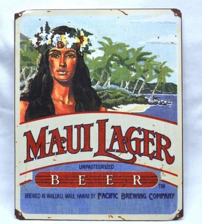 MAUI LAGER Metal Beer Sign 11 1/4