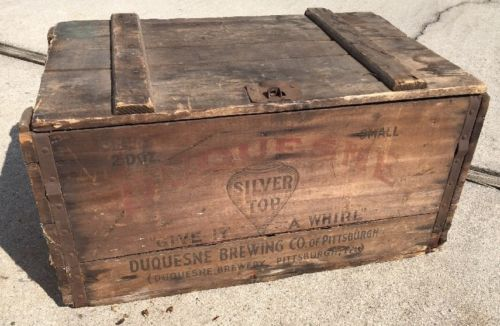 Vintage Duquesne Brewing Co Silver Top Wood Beer Crate Pittsburgh PA 2 Doz Small