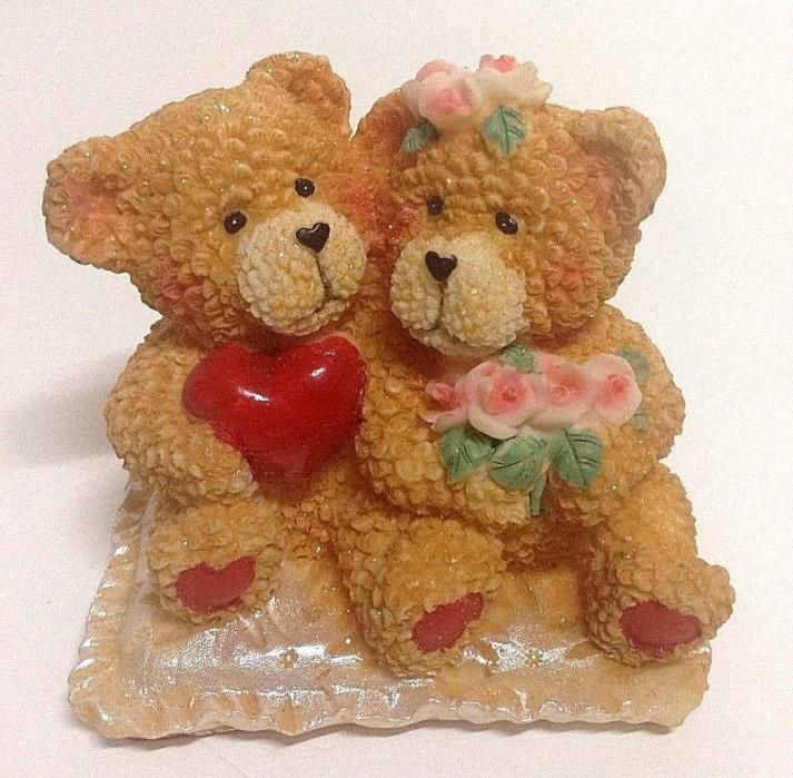 "Valentine's Day Bear Couple Resin Figurine 3-1/2"" T"