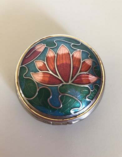 Vintage Lotus Flower Metal Pill Box Container