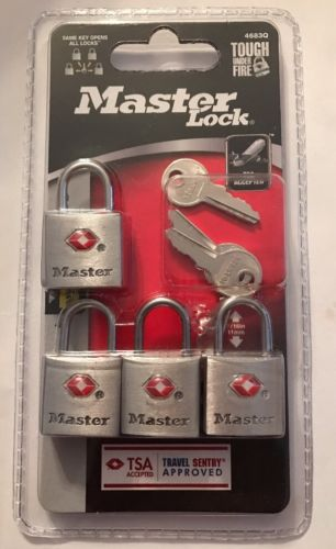TSA Approved Master Lock With Key 4 Pack 4683Q