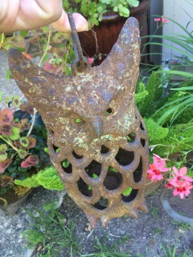old Estate iron metal tea ceremony garden Owl Bird LANTERN Japanese vintage lamp