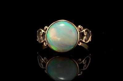 ANTIQUE VICTORIAN NATURAL AUSTRALIAN OPAL 14K GOLD RING  (041117085)