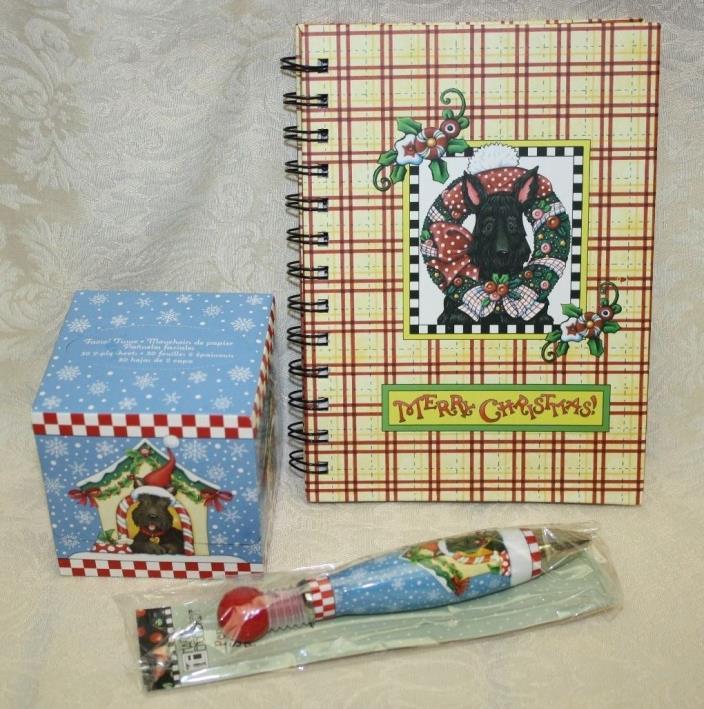 Mary Engelbreit Christmas Scottie Dog LOT/3 Tissues, Pen, Journal NEW
