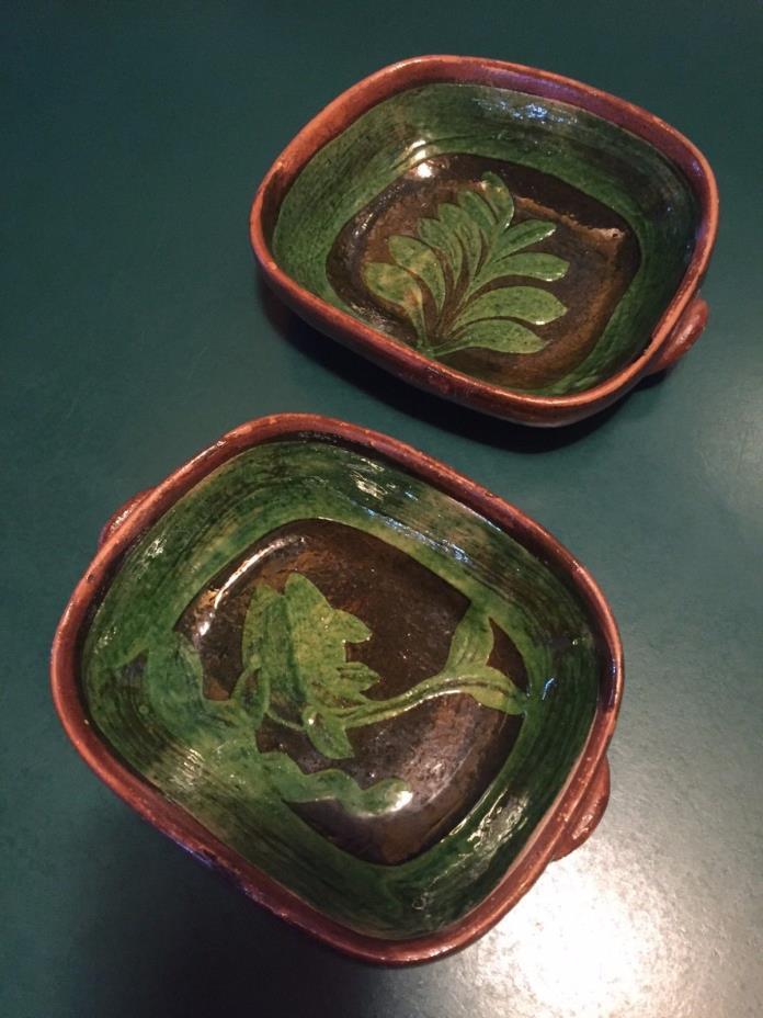 Mexican Terra Cotta Pottery 2 Green Bowls Botanicals 6