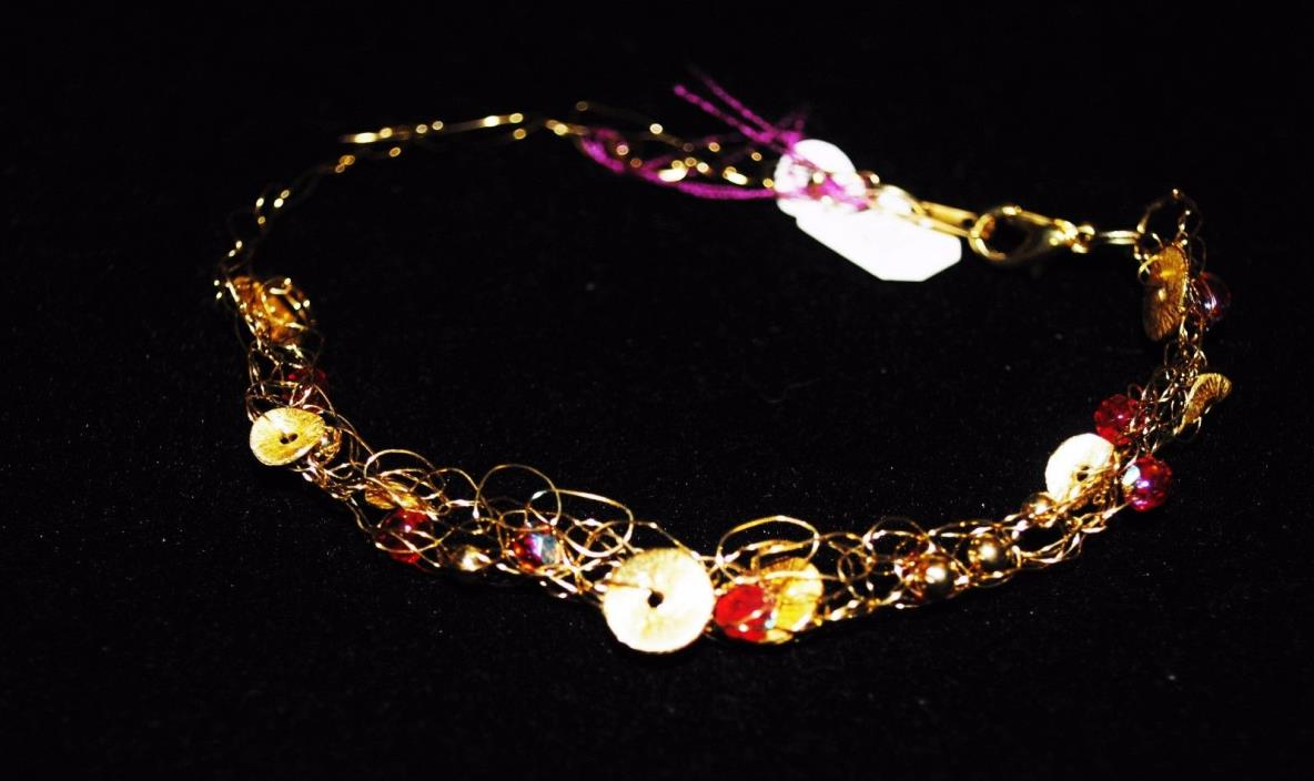 Gold Crochet wire bracelet with red glass beads -- Handcrafted