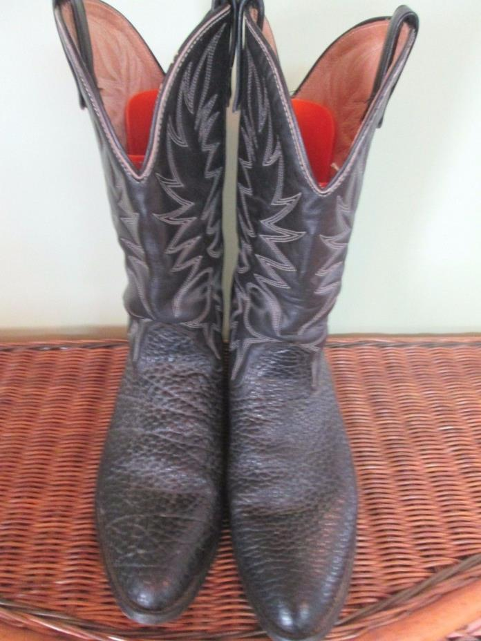 BLACK EXOTIC LEATHER COWBOY BOOTS 14