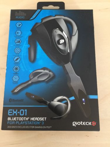 Gioteck EX-01 Black Ear-Hook Bluetooth Headsets for PS3 - NEW