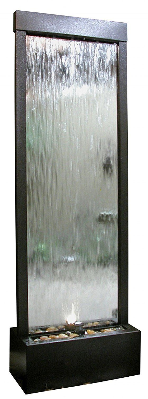 Waterfall Mirror Decorative Fountain Stones Light Outdoor Stainless Steel Floor