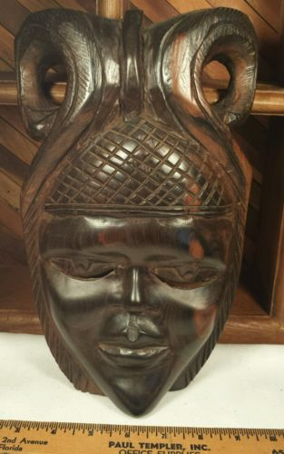 Hand Carved Tribal African Wall Mask of Woman Heavy Wood