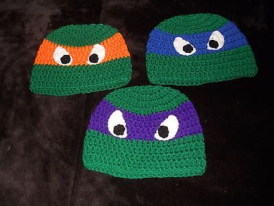 set of 3 teanage turtle hats 2-4 years [17 inch diameter]