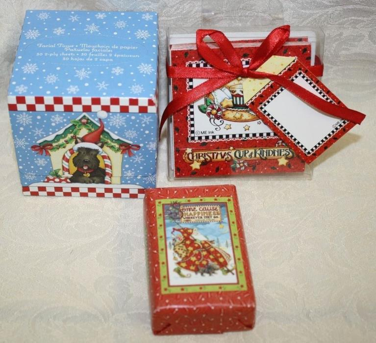 Mary Engelbreit Christmas Scottie Dog LOT/3 Tissues, Mini Note Cards, Soap NEW