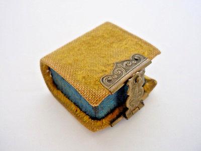 Antique Victorian Velvet Book Shape Thimble Holder