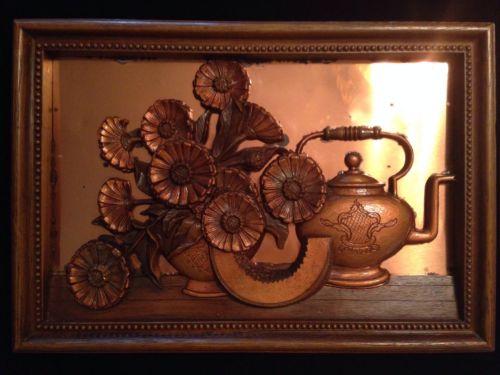 Vintage Copper 3D Kitchen Wall Hanging Still Life Resin Design And Frame Floral