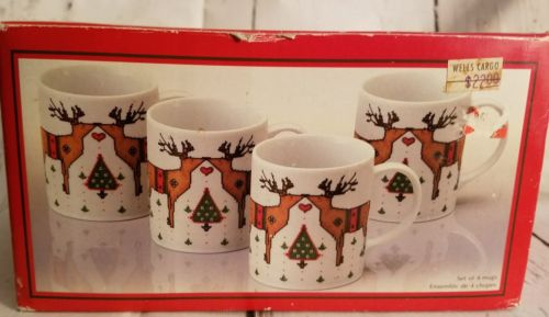 NOS 4 Deer Christmas Bill Logan Toscany Porcelain Mug Cup Needlepoint in box New